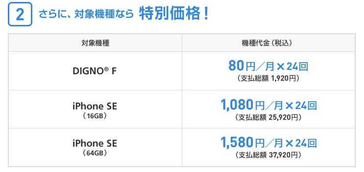 DIGNO F、iPhoneSE(16GB/64GB)が特別価格に!1