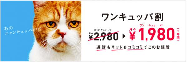 ワイモバイルのワンキュッパは月々1000円割引