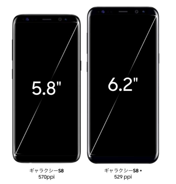 サイズは5.8インチのGalaxy S8と6.2インチのGalaxy S8+の2種類