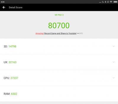 Antutuのスコアは約8万点。性能はiPad mini4にかなり近い?